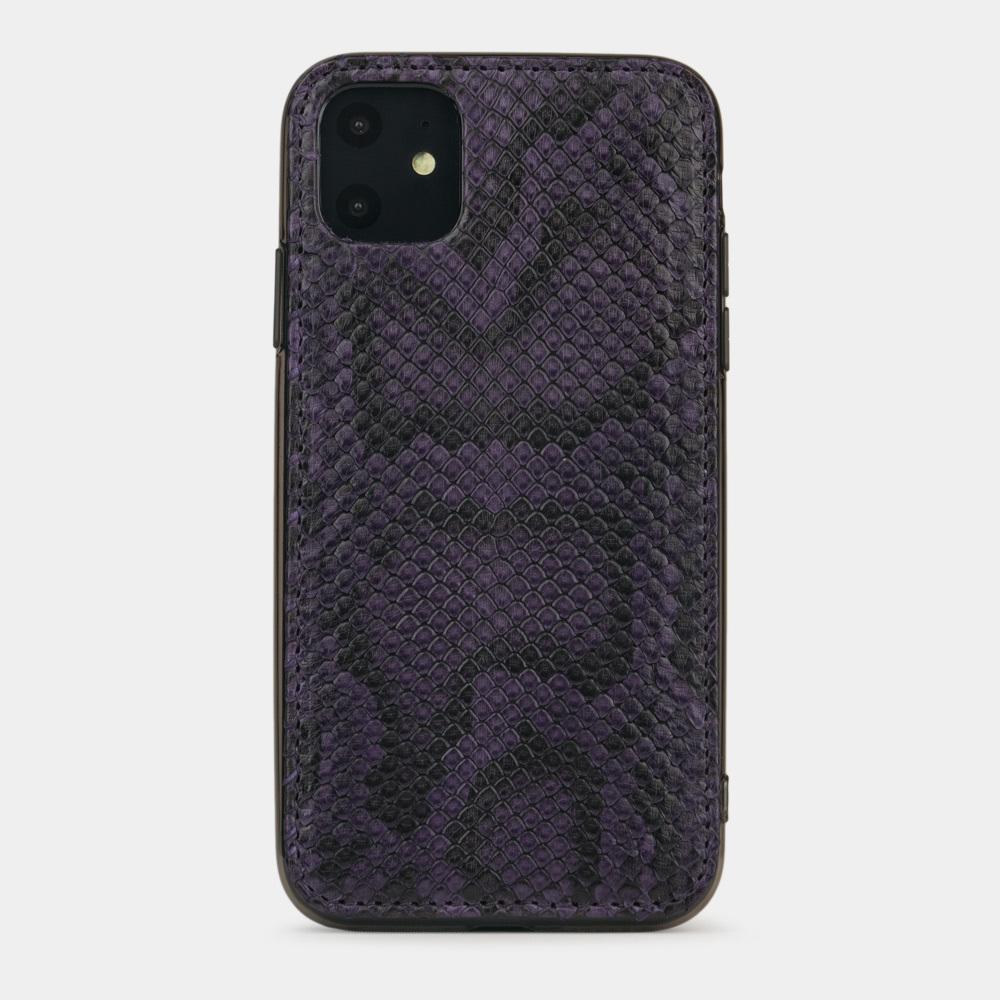 Чехол-накладка для iPhone 11 из натуральной кожи питона, фиолетового цвета