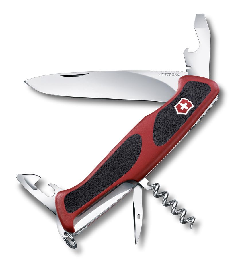 Нож Victorinox RangerGrip 68, 130 мм, 11 функций, красный с черным