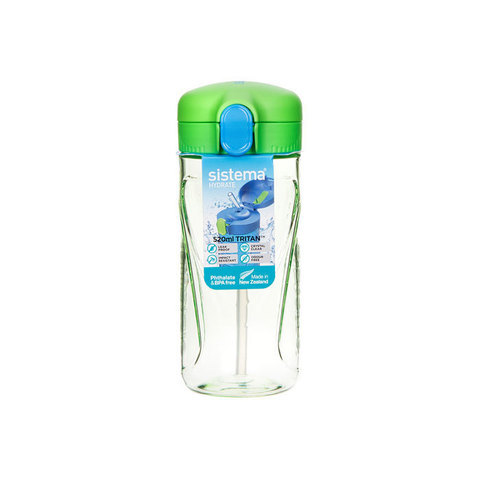 "Бутылка для воды с трубочкой Sistema ""Hydrate"", Тритан, 520 мл, цвет Зеленый"