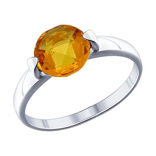 Кольцо из серебра с жёлтой стеклянной вставкой