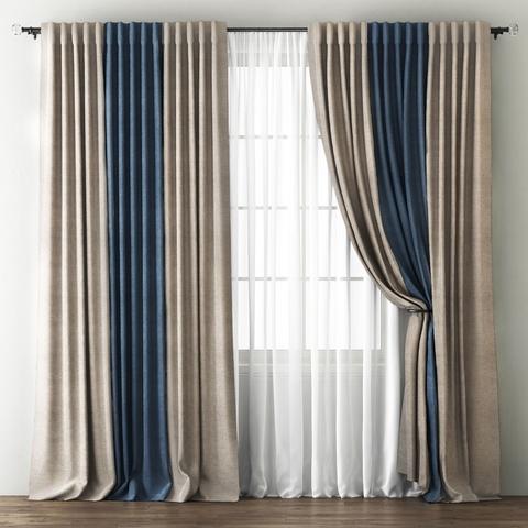 Комплект штор с подхватами Карин бежево-коричневый-синий
