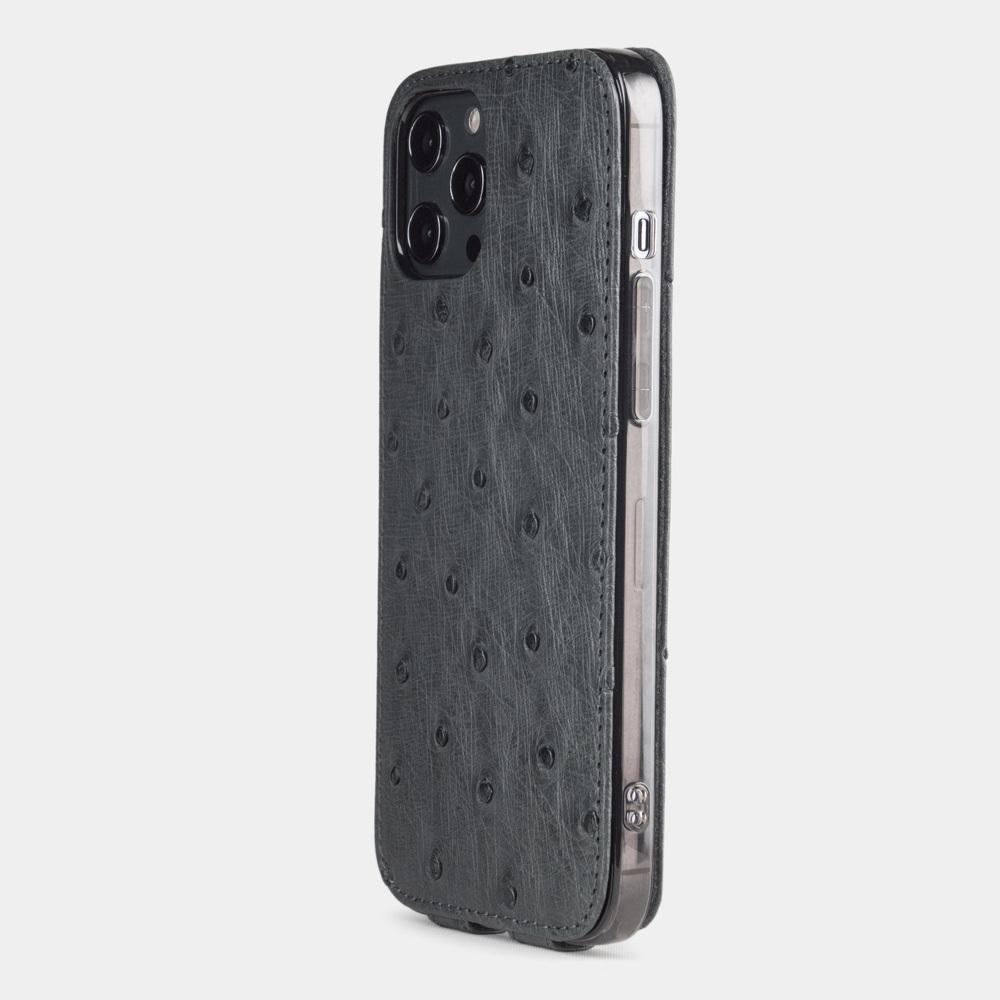 Чехол для iPhone 12 Pro Max из натуральной кожи страуса, серого цвета
