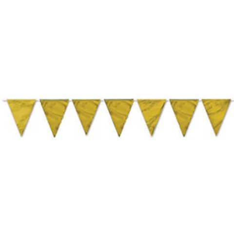 Гирлянда-вымпел  фольгированная золото 10 м