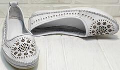 Красивые мокасины балетки женские кожаные Rozen 212 White.