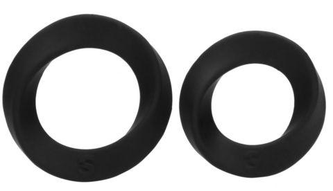 Набор из двух черных эрекционных колец N 86 Cock Ring Set