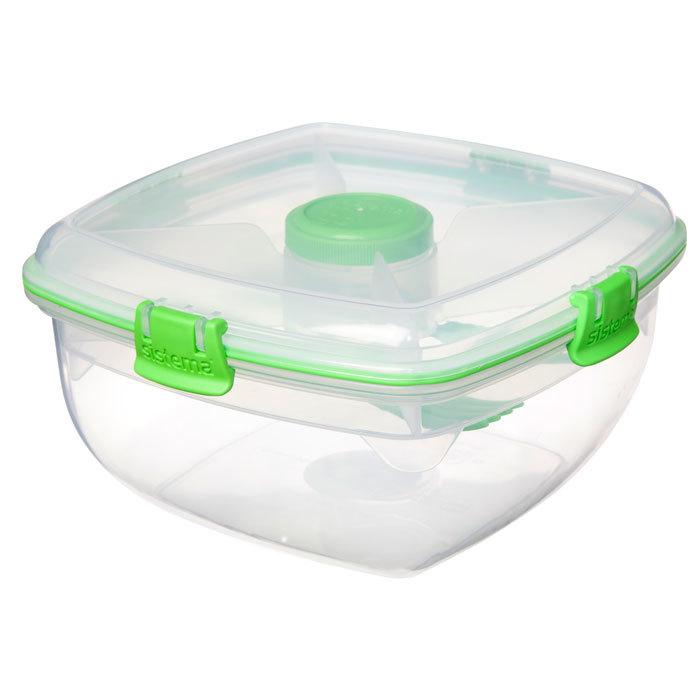 """Контейнер для салата с разделителями и приборами Sistema """"TO GO"""" 1,63 л, цвет Зеленый"""
