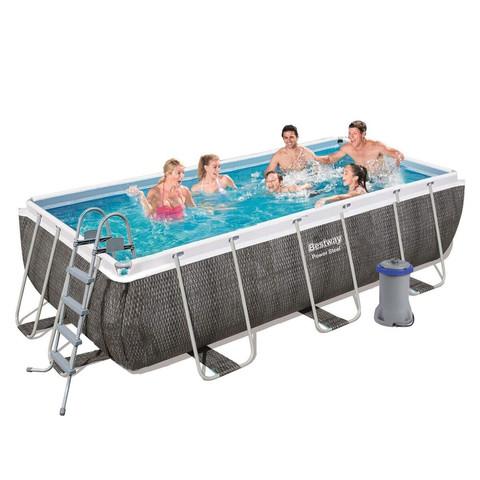 Каркасный бассейн Bestway 56996 (488х244х122 см) с картриджным фильтром, лестницей и защитным тентом / 22695