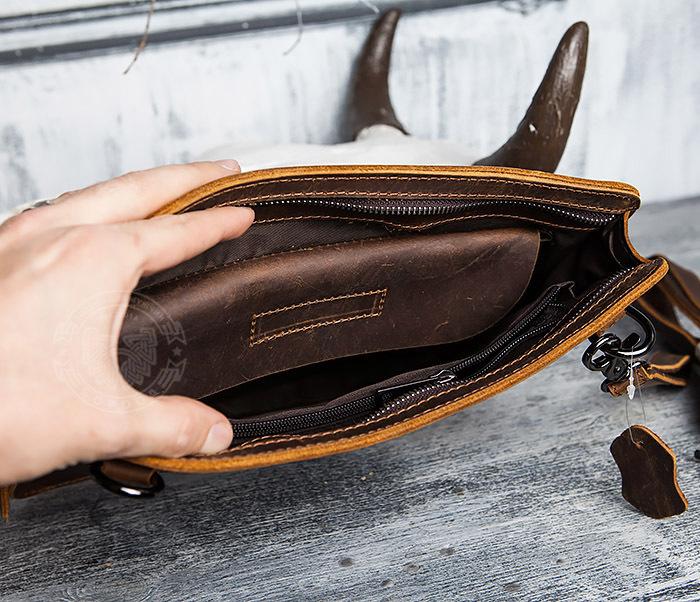 BAG417-2 Мужская деловая папка из кожи с ремнем на плечо фото 08