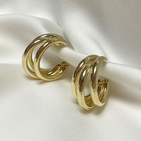 Серьги тройные кольца незамкнутые крупные золотистые ш925