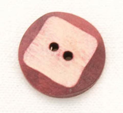 Пуговица деревянная с бордовыми гранями
