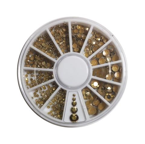 Стразы для дизайна карусель золотые купить за 140руб