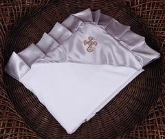 Нарядная крыжма Велена для новорожденных (серебро)