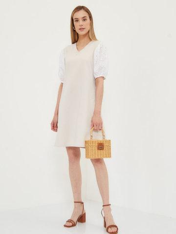 BM Платье трикотажное с шитьем Молочный
