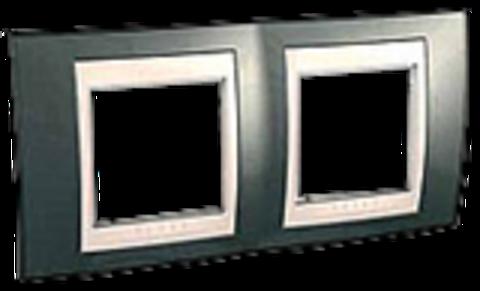 Рамка на 2 поста. Цвет Шампань/Бежевый. Schneider electric Unica Хамелеон. MGU6.004.524
