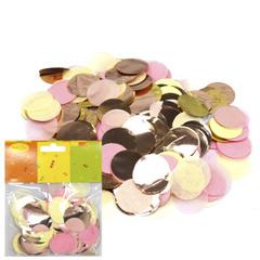 Конфетти бумага/фольга Круги золото/розовый/шампань 2,5см / 14гр. /