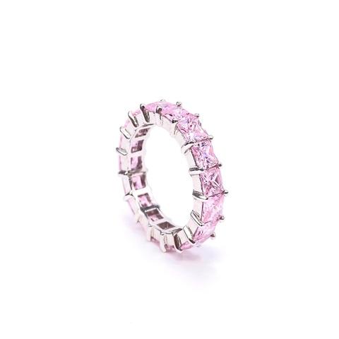 47939- Кольцо-дорожка из серебра с розовыми цирконами огранки принцесса