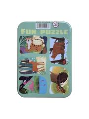 Развивающие пазлы в жестяной коробке Забавная головоломка FUN PUZZLE набор ФЛАМИНГО Дикие животные 39 элементов, 5 пазлов