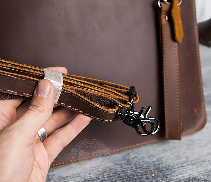 BAG417-2 Мужская деловая папка из кожи с ремнем на плечо фото 11