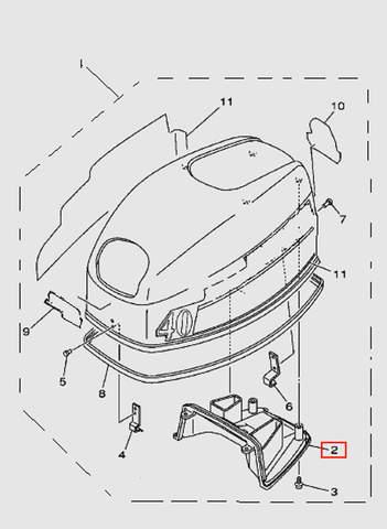 Воздуховод капота для лодочного мотора T40 Sea-PRO (1-2)