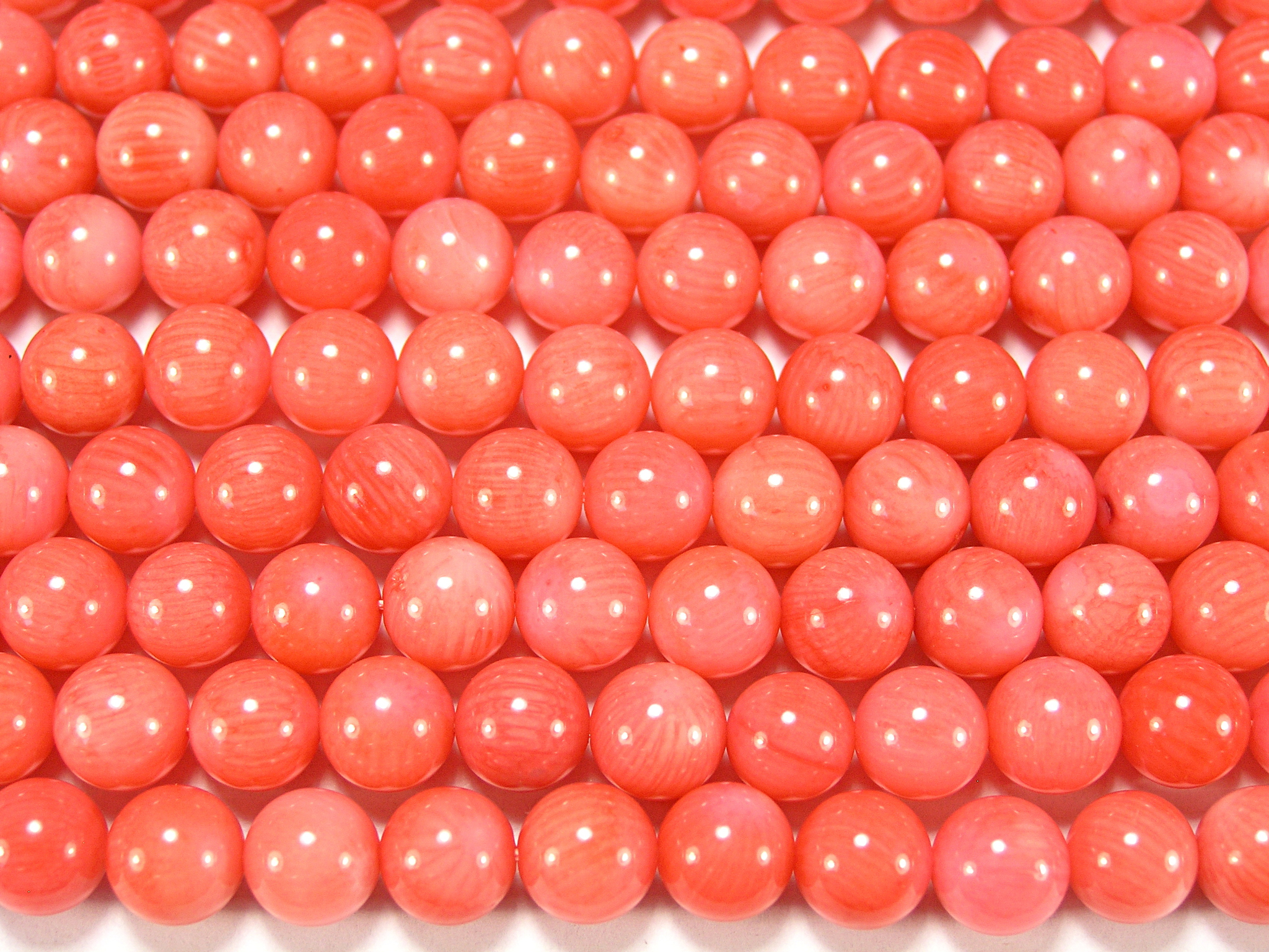 Нить бусин из коралла розового, шар гладкий 8мм