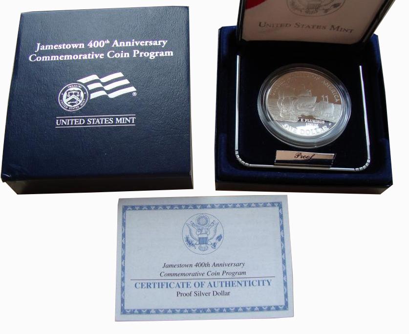 1 доллар 2007 год. Джеймстаун Корабли Парусники. США. Серебро. PROOF