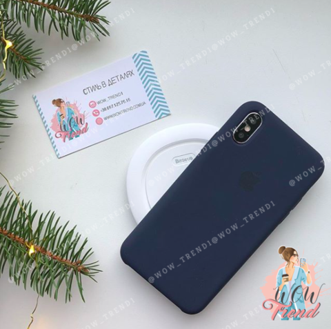 Чехол iPhone X/XS Silicone Case /midnight blue/ темно-синий original quality
