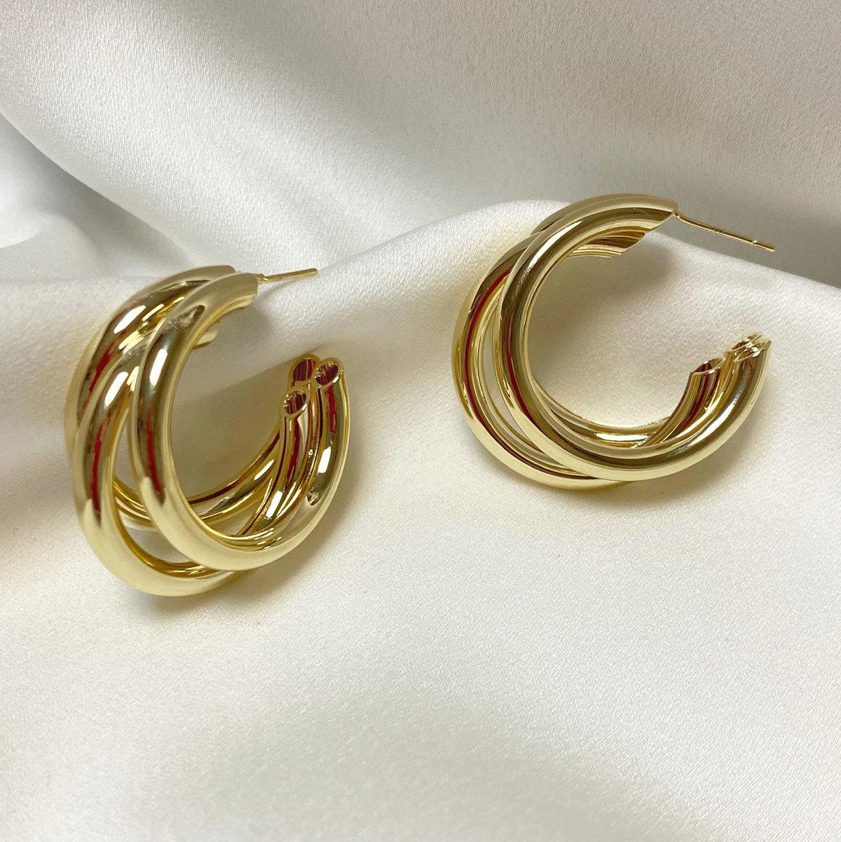 Серьги-конго тройные незамкнутые 3 см (золотистый) ш925