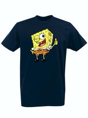 Футболка с принтом мультфильма Губка Боб Квадратные Штаны/ Спанч Боб (SpongeBob SquarePants) темно-синяя 003