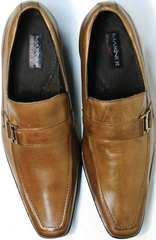 Модные классические мужские туфли с тупым носом Mariner 12211 Light Brown.