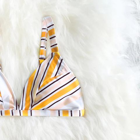 купальник мини бикини в полоску желтый белый 4