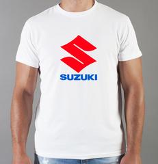 Футболка с принтом Сузуки (Suzuki) белая 003