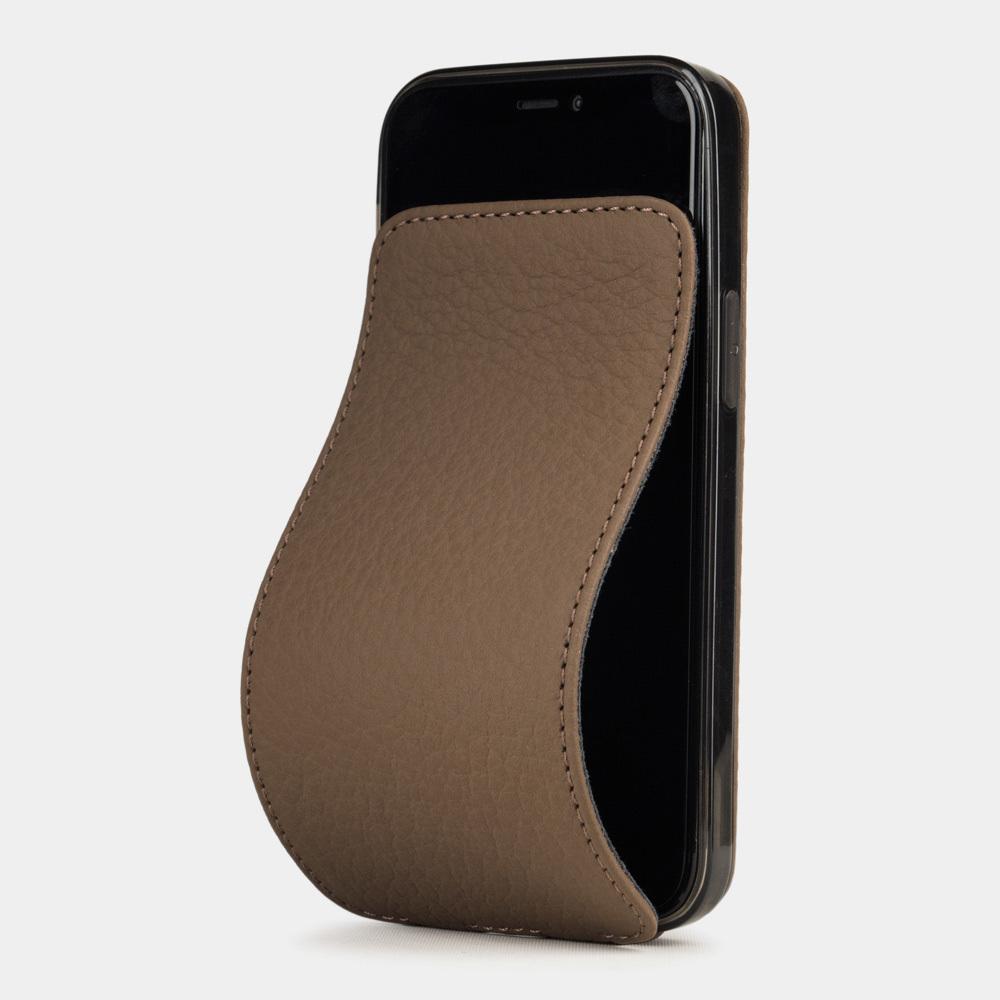 Чехол для iPhone 12 Mini из натуральной кожи теленка, цвета кофе