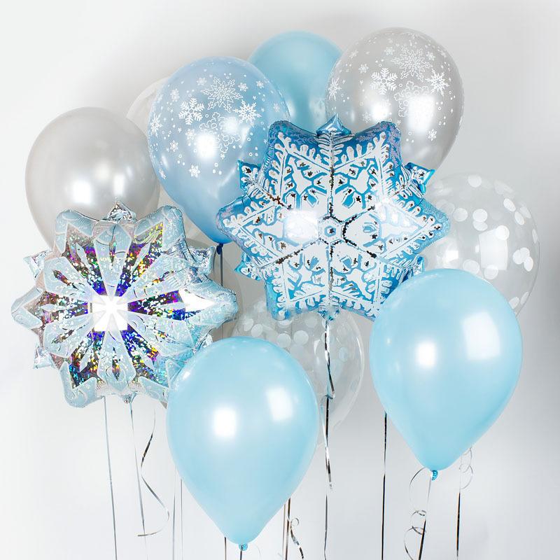 Купить гелиевые шары снежинки голубой серебро Пермь