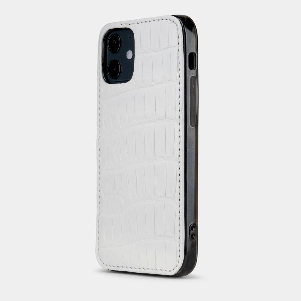 Special order: Чехол-накладка для iPhone 12 Mini из натуральной кожи крокодила, белого цвета
