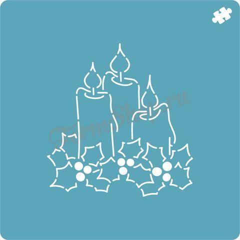 Новогодние свечи трафарет для пряника