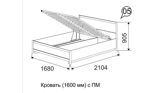 Кровать двойная 160*200 с подъемным механизмом Вива 5 Ижмебель невис/капучино глянцевый