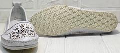 Летние мокасины женские туфли на плоской подошве Rozen 212 White.
