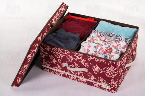 Большой складной кофр для одежды, 54*42*28 см (бордо с узорами)