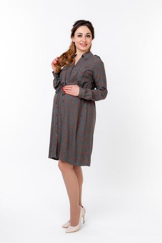 Платье для беременных 09829 серый/ оранжевый