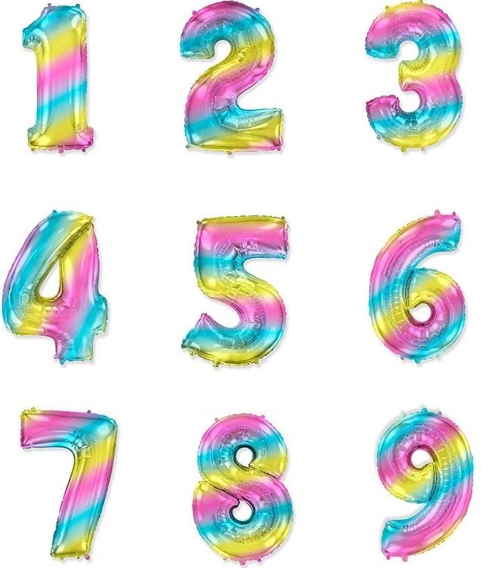 Радужные цифры 102 см с гелием