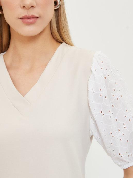 Летнее хлопковое платье Brandmania с ажурными рукавами из шитья