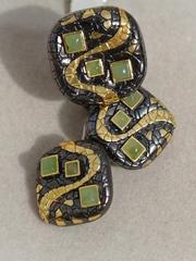 Иви-нефрит (кольцо + серьги из серебра)