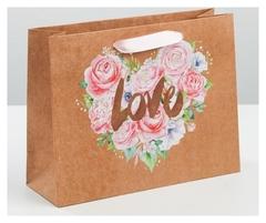 Пакет горизонтальный крафтовый «Цветочная любовь», M 26 × 30 × 9 см, 1 шт.