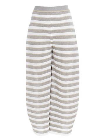Женские брюки в серо-белую полоску из вискозы - фото 1