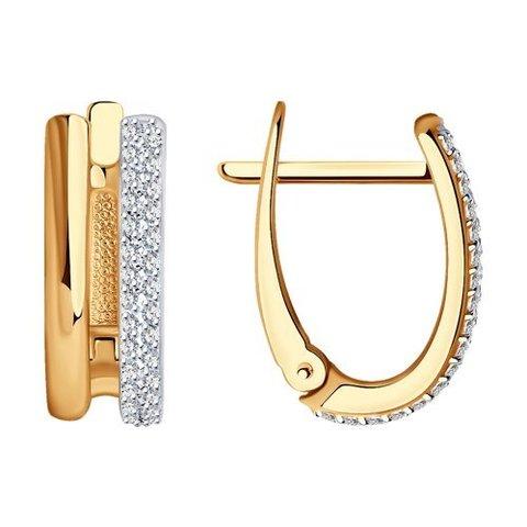 1021897  - Серьги из комбинированного золота с бриллиантами