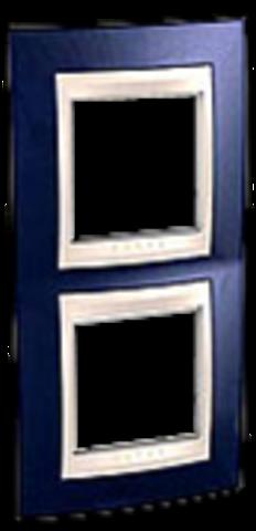 Рамка на 2 поста. Цвет вертикальная Индиго/Бежевый. Schneider electric Unica Хамелеон. MGU6.004V.542