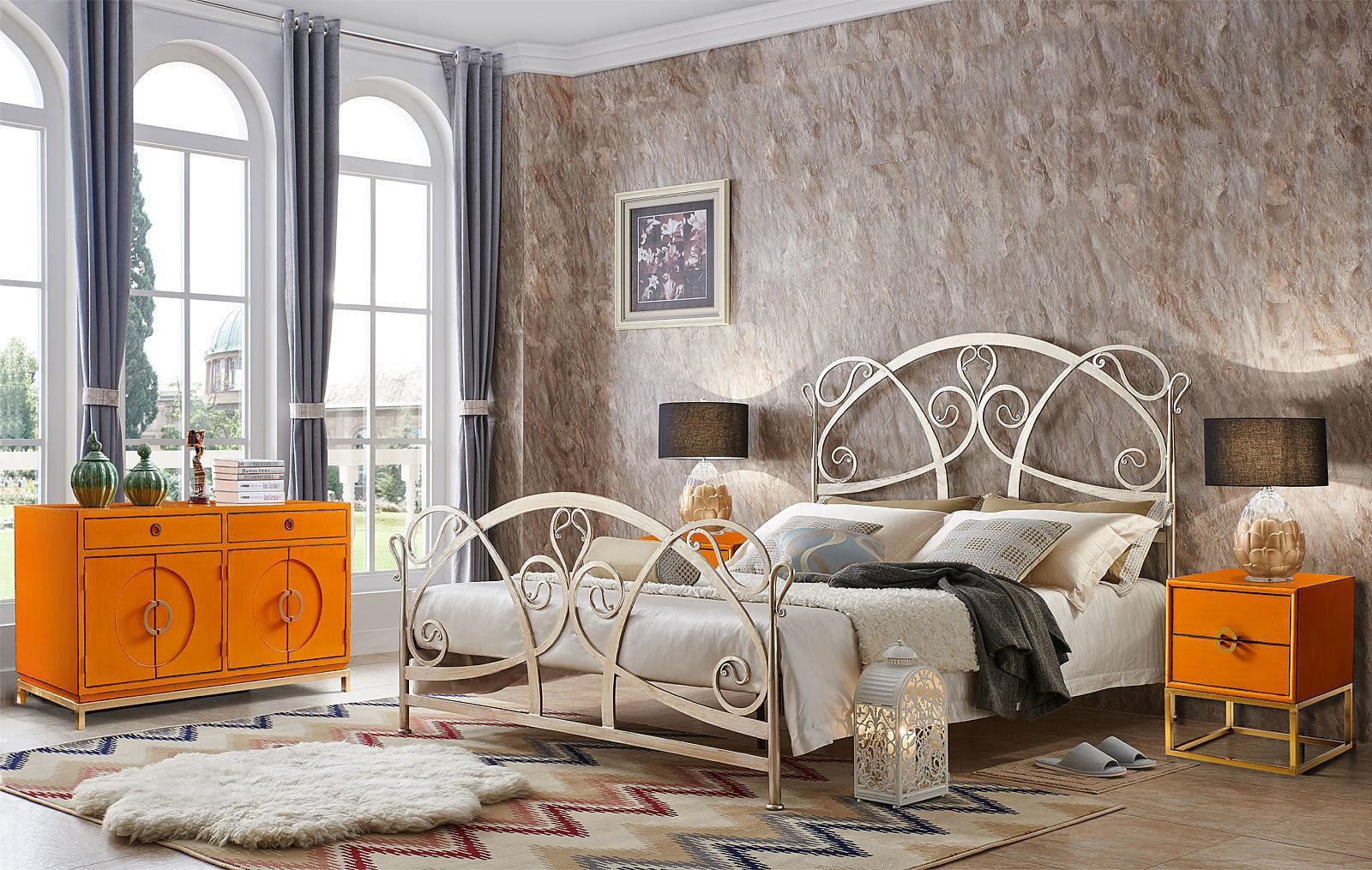 Тумба прикроватная ESF FL-7814 оранжевая, Кованая кровать TDF1606 GOLD (золото)