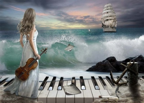 Алмазная Мозаика 40x50 Музыка и море (арт. MGL8016 )