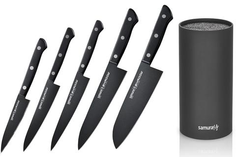 Набор из 5 кухонных ножей Samura Shadow и браш-подставки