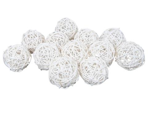 Плетеные шары из ротанга (набор:12 шт., d6 см, цвет: белый)